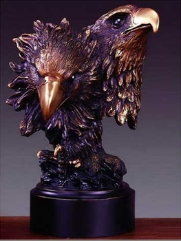 Bronze Finished Double Eagle Head Statue Figurine