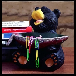 "7""W x 6""H Bear Paper Clip Holder"