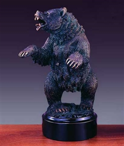 "12"" Growling Wall Street Bear Statue - Bronzed Sculpture"