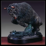 "7"" Charging Buffalo Statue - Bronzed Sculpture"