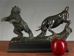 Classic Fighting Stock Market Bull & Bear Statue