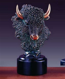 "10"" Buffalo Head Statue - Bust Sculpture"