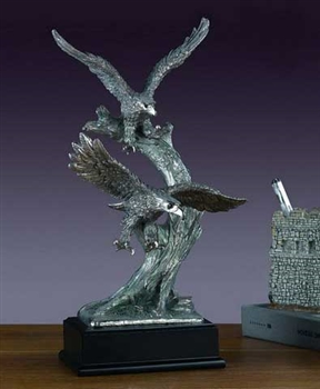"13"" Two Flying Eagles Pewter Finish Statue - Sculpture"