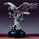 "9"" Hunting Pewter Finish Eagle Statue Figurine"