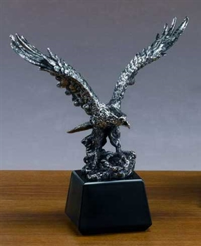 "13"" Antique Silver Finish Eagle Statue - Figurine"