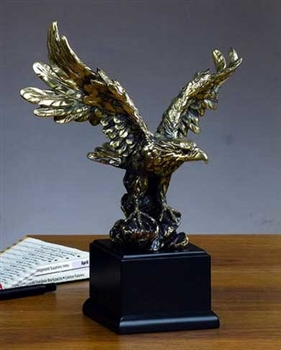 "11"" Antique Gold Finish Eagle Statue - Sculpture"