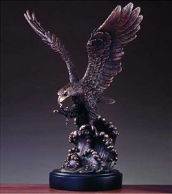 "20"" Eagle on Waves Bronze Finish Statue - Sculpture"