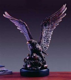 "19"" Bronze Finish Eagle with Two Babies Statue - Sculpture"