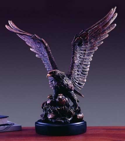 Broad Wing Eagle Statue Bronze Finish Figurine BullMarketGifts