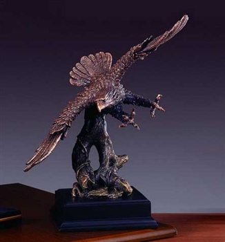 "14"" Eagle Soaring Bronze Finished Statue - Sculpture"