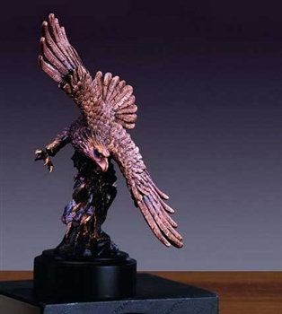"9"" Flying Bronze Finish American Eagle Statue - Figurine"