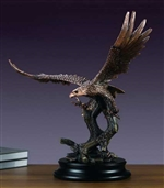 "24"" Bronze Finished Flying Bald Eagle Statue - Sculpture"