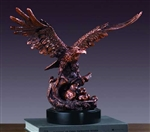 "14"" Bronze Finish American Eagle With Babies Statue - Sculpture"