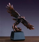"12"" Bronze Finish Bald Eagle on Water Statue - Figurine"