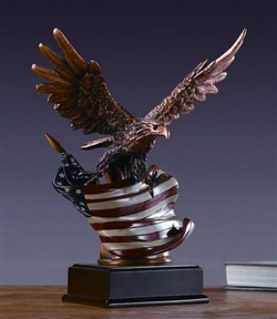 "12"" American Flag Bronzed Finish Eagle Statue - Sculpture"