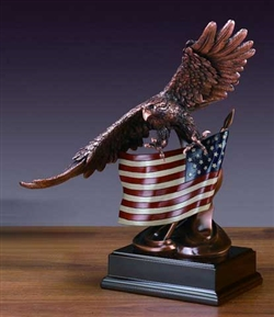 Large American Eagle with Flag Statue - Bronzed Finish Sculpture