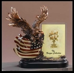 "10"" American Flag Eagle Statue Picture Frame - Figurine"