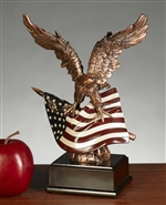 "10"" American Flag and Eagle Statue – Figurine"