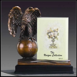 "8"" Eagle on Globe Statue Picture Frame - Figurine"