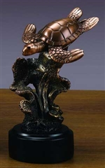 "6.5"" Sea Turtle Statue - Bronzed Figurine"