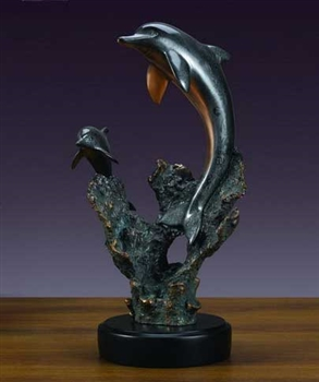 "19"" Dolphin and Baby Statue - Sculpture"