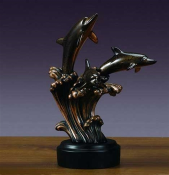 "12.5"" Three Dolphin Statue - Sculpture"