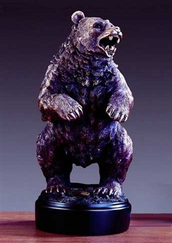 "13.5"" Big Bad Menacing Bear Statue - Bronzed Sculpture"
