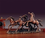 "Four Running Horses Statue - 17"" Bronze Finished Sculpture"