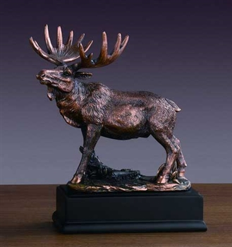 "8"" Moose Statue - Bronzed Sculpture"