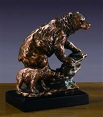 "9.5"" Bear with Cub Statue - Bronzed Sculpture"