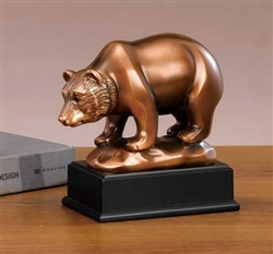 Little Stock Market Bear Statue - Bronzed Sculpture