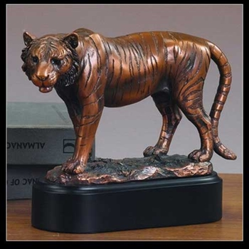 "8.5"" Bronzed Tiger Statue - Sculpture"