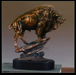 "12"" Large Buffalo Statue - Bronzed Sculpture"