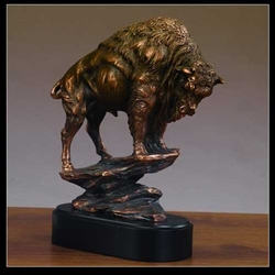 "10.5"" Buffalo Statue - Bronzed Sculpture"