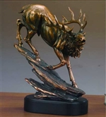 "12.5"" Large Elk Statue - Bronzed Sculpture"