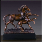 "10"" Mare and Foal Horse Statue - Bronzed Sculpture"