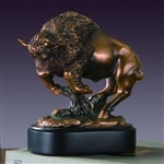 "7.5"" Charging Buffalo Statue - Bronzed Sculpture"