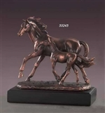 "9"" Bronze Finished Mare with Foal Statue - Figurine"