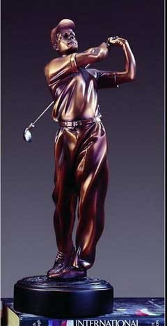 "15"" Golf Trophy - Bronzed Statue"