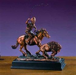 Native American Rider and Buffalo Sculpture - Statue