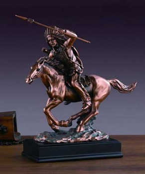 "11"" Bronze Finished Indian Chief on Horse Statue - Figurine"