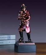 Firefighter with Child Statue - Bronzed Fireman and Child Figurine