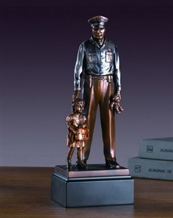 Police Officer with Child Statue - Bronzed Police Officer and Child Figurine