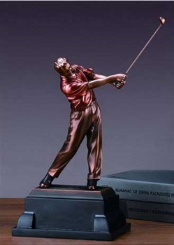 "12"" Driving Golf Trophy - Bronzed Statue"