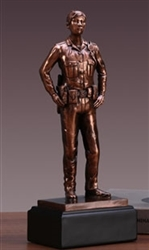 Police Woman Statue - Bronzed Police Woman Figurine
