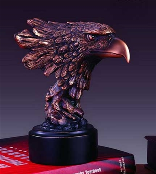 "7"" Bronzed Finish Eagle Head Statue - Figurine"