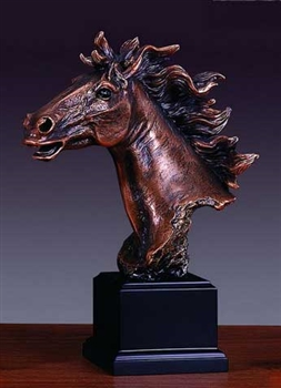 "11"" Flowing Mane Horse Head Statue - Bronzed Sculpture"
