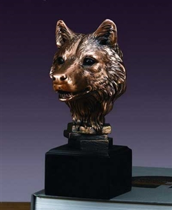 Bronzed Finished Wolf Bust - Wolf Head Statue