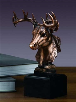 Whitetail Deer Bust Statue - Bronze Finish