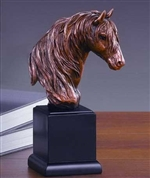 "9"" Bronze Finish Horse Head Statue - Sculpture"